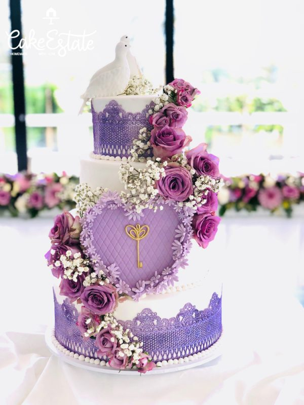 Lilac Celebration Wedding Cake